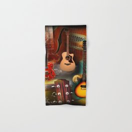 The guitar collage Hand & Bath Towel