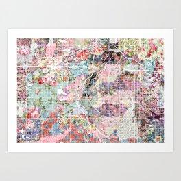 Denver map landscape Art Print