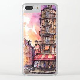Paris ink & watercolor illustration Clear iPhone Case