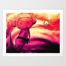 Space Boy Paper Diorama Art Print