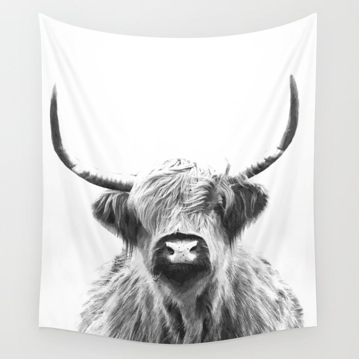 Black and White Highland Cow Portrait Wall Tapestry