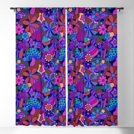 70's Psychedelic Garden in Cool Jeweltone Blackout Curtain