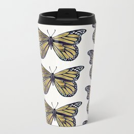 Gold Butterfly Metal Travel Mug