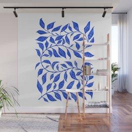 Bontanical Art Blue Leaf Wall Mural