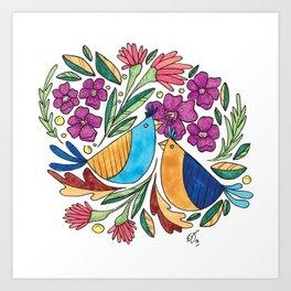 Birds & flore Art Print