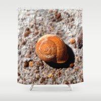 snail Shower Curtains featuring Snail by Chico Sanchez