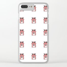 Cute Duotone Hamster Pattern Illustration Clear iPhone Case