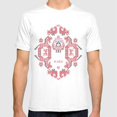 Embroidery  MEDIUM Mens Fitted Tee White