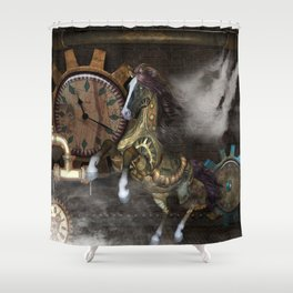 Steampunk, beautiful steampunk horse Shower Curtain