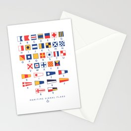 Maritime Nautical Signal Flags Chart - White Stationery Cards