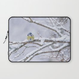 Blue Tit On A Snowy Branch Winter Scene #decor #society6 Laptop Sleeve