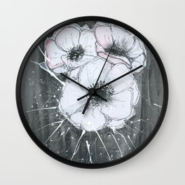 Anemone Flowers illustration gray neutral colors decor Wall Clock