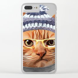 Cat Kitty Kitten In Clothes Yellow Glasses Toque Beanie Clear iPhone Case