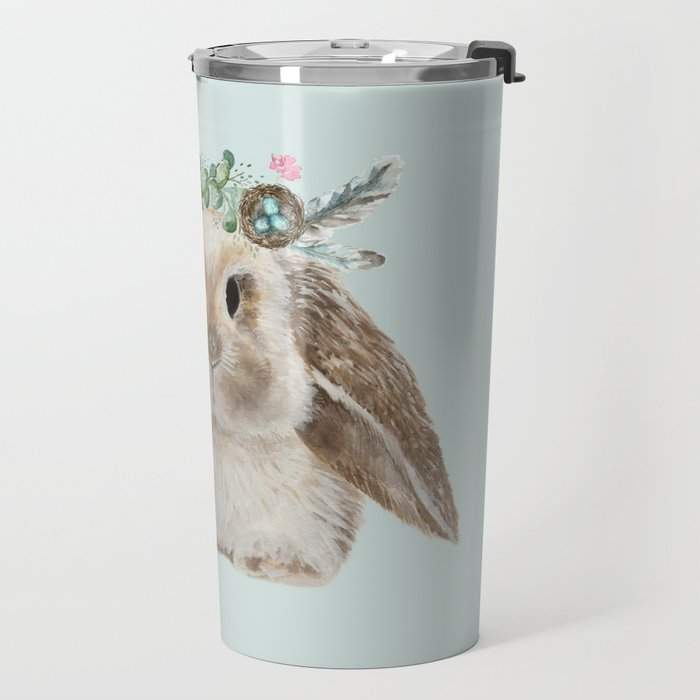 Spring Bunny with Floral Crown Travel Mug