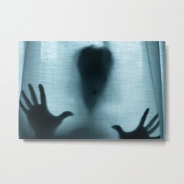 Figure behind a curtain Metal Print