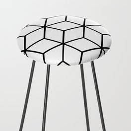 Black and White - Geometric Cube Design I Counter Stool