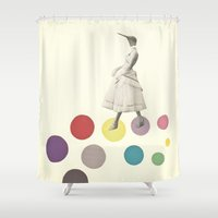 lady Shower Curtains featuring Bird Lady by Cassia Beck