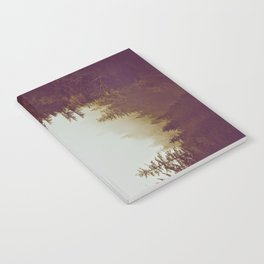 Olive Green Sepia Misty Pine Forest Landscape Photography Parallax Trees Notebook
