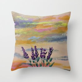 Lavender and rainbows Throw Pillow