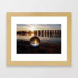 New world in a sphere, panorama of a lake in the sunset Framed Art Print