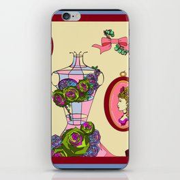 An Antique Shop Wall of Romantic Items and Succulents iPhone Skin