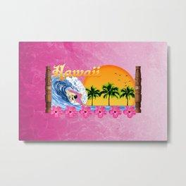 Pink Hawaiian Surfing Metal Print