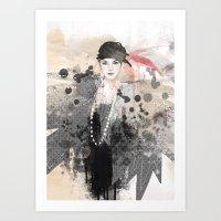fashion illustration Art Prints featuring FASHION ILLUSTRATION 12 by Justyna Kucharska