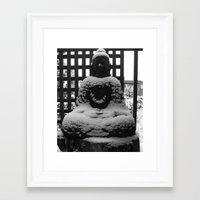 buddah Framed Art Prints featuring Snowy Buddah by Nearlycanadian