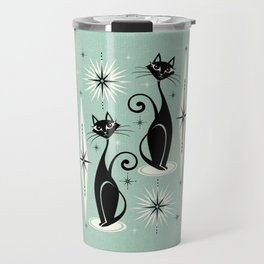 Mid Century Meow Retro Atomic Cats Mint Travel Mug
