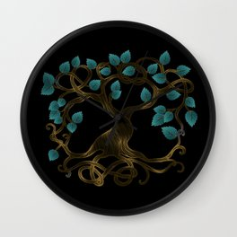 Glow gold and teal Glowing Tree of life  -Yggdrasil Wall Clock