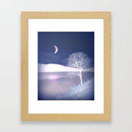 Moon night on the lake Framed Art Print