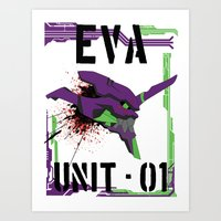 evangelion Art Prints featuring Evangelion Unit 01 by Savinity