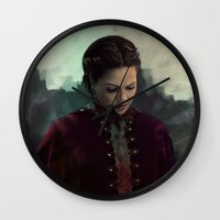 regina mills Wall Clocks featuring Young Regina by LindaMarieAnson