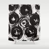 large Shower Curtains featuring Swirled, Large  by Liza Q.
