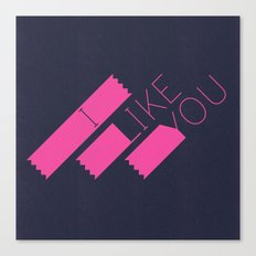 I Like You Graphik: Pink Type Canvas Print