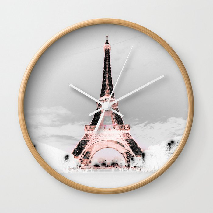 pariS Black & White + Pink Wall Clock