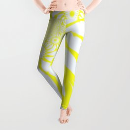 The Modern Flower Yellow & White Leggings