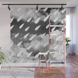 Storm Clouds + Droplets Wall Mural