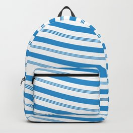 Blue White Stripe Christmas Candy Cane Pattern Backpack