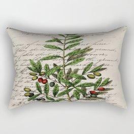 Chic paris scripts kitchen artwork french botanical leaf olive Rectangular Pillow