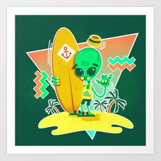 Alien Surfer Nineties Pattern Art Print