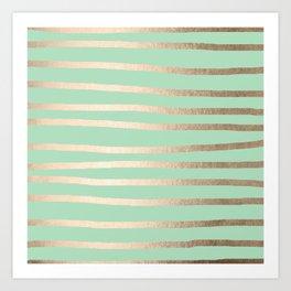Stripes Metallic Gold Mint Green Art Print