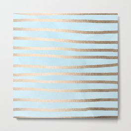 Abstract Drawn Stripes Gold Tropical Ocean Sea Turquoise Metal Print