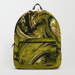 psychedelic spiral line pattern painting abstract background in green Backpack
