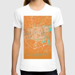 Leeuwarden, Netherlands, Gold, Blue, City, Map T-shirt