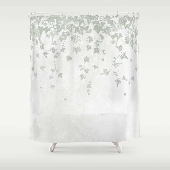 Soft Gray Green And White Trailing Ivy, Green And White Shower Curtain