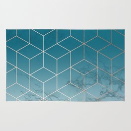 Gold Geometric Cubes Teal Marble Deco Design Rug