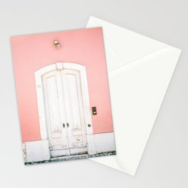 The Lisbon door | Pink on white fine art travel photography print | Portugal Europe Stationery Cards