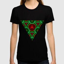 red and greenery kivi pattern T-shirt