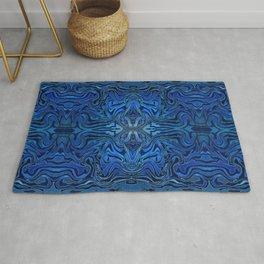 Blue Velvet Silk Watercolor Pattern Rug